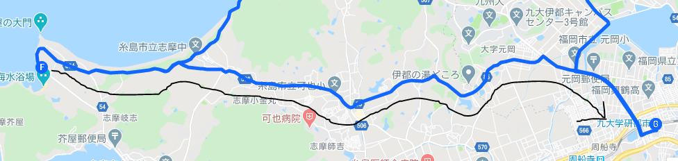 芥屋大門から九大学研都市駅へ戻るルートです