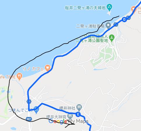 夫婦岩から櫻井神社へのルートです。