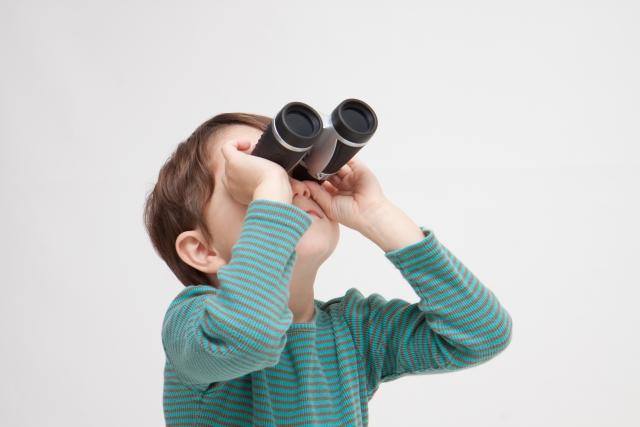 覗く、確認する、双眼鏡、見つける