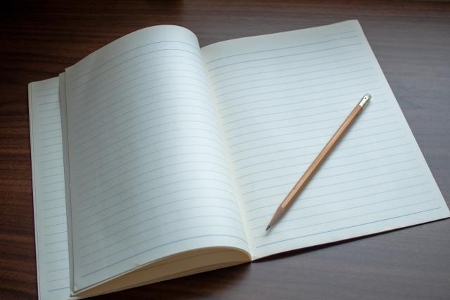 ノート、鉛筆、文房具、勉強