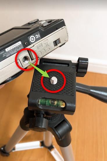 ダイソーカメラ三脚4段デジカメ設置