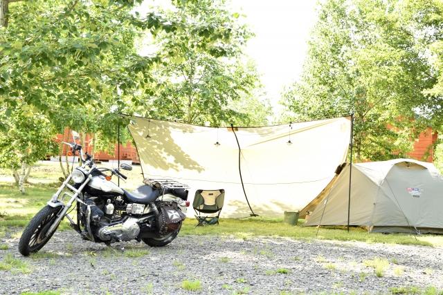 バイク、ツーリング、テント