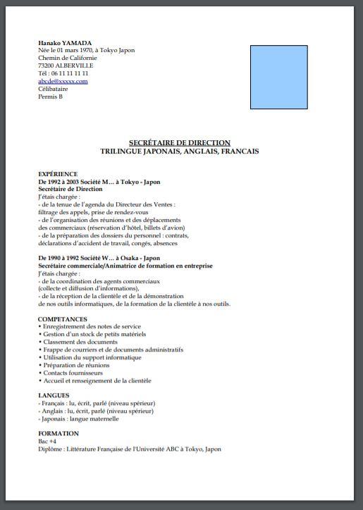フランス履歴書